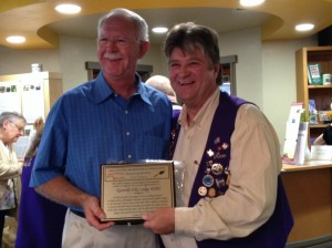 Award Plague Presented to Ron - Elks Lodge 2013