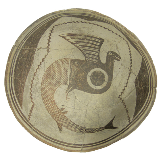 fish-bird Mimbres Pottery