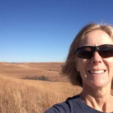 Leslie Bush at famous Konza Praire in Kansas near Fort Riley