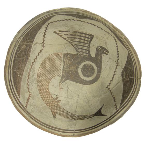 fish-bird Mimbres Pottery